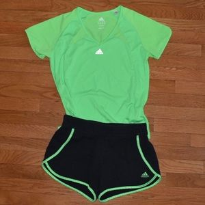Adidas Neon Green & Black Shirt & Shorts SetSize M